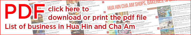 PSD list of business in Hua Hin, Cha Am and Pranburi