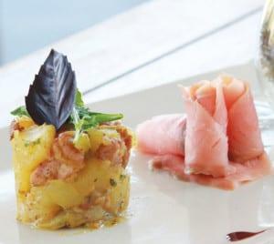 Fresh organic vegetable salad with smoked salmon Serve with German potato