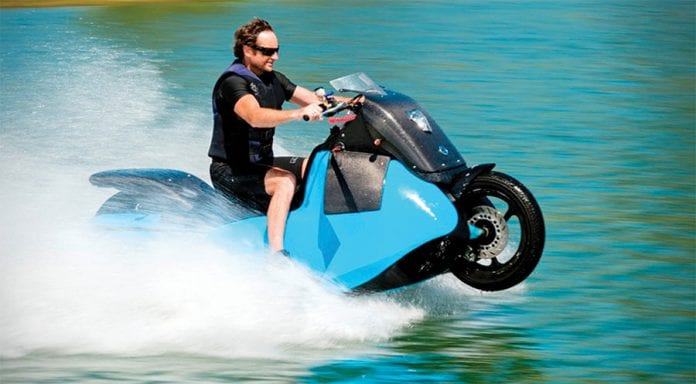 Combining a Scooter with a Jet Ski the GIBBS BISKI Amphibious Motorcycle