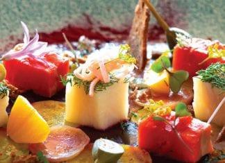 Salad of salt-cured sockeye salmon, smoked sturgeon