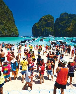 Thailand welcomed a record 38.27 million tourists in 2018